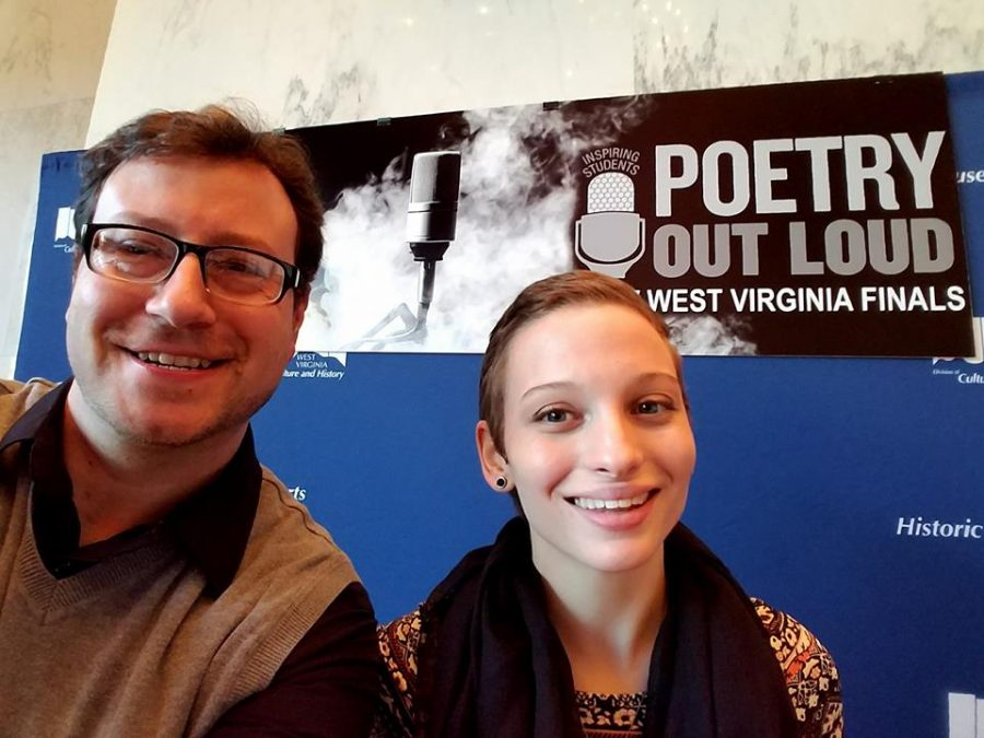Senior Kierston Carson and English Teacher Doug Seckman were all smiles before the first day of poetry recitations at the POL Competition in Charleston.