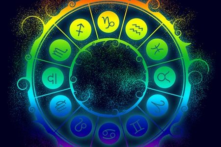 Astrological symbols in the circle. Gradient painting. Glittering dust