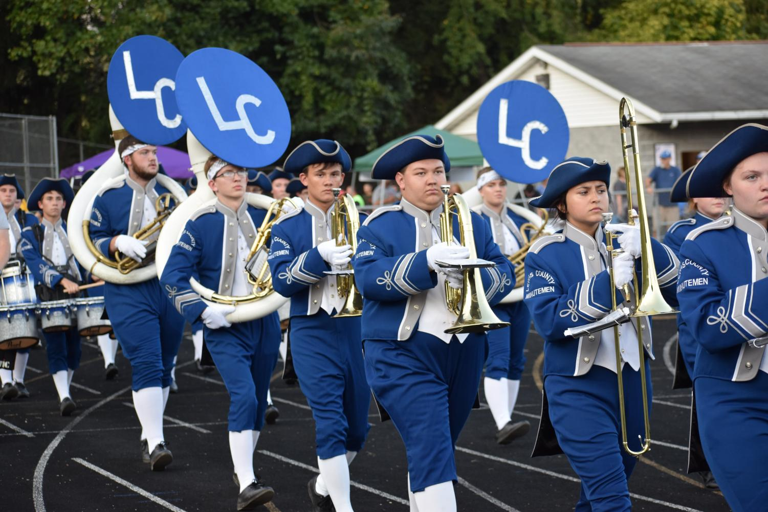 The LCHS Band takes to the field to debut its 2029 field show.