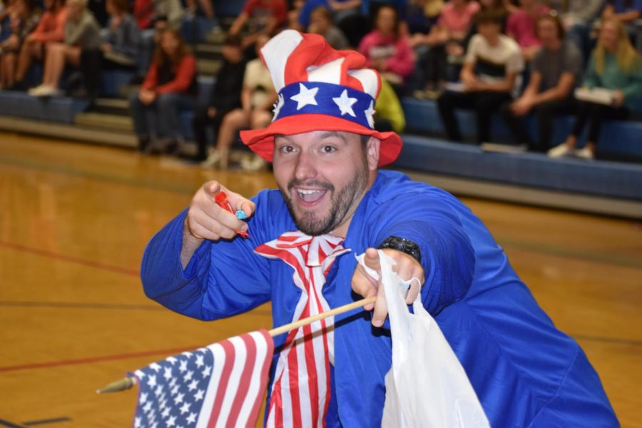 History teacher Mr. Hunter McWhorter dressed as Uncle Sam for the Constitution Week Minuteman Monday September 24.