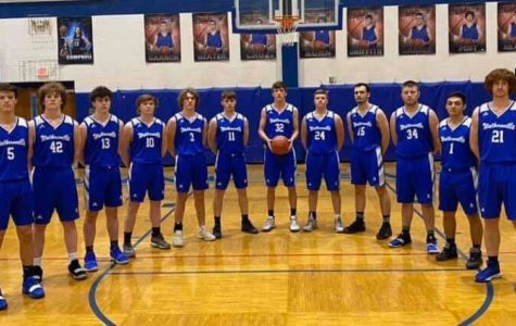 LCHS Minutemen Basketball players don the throwback Walkersville jersey for the first of four throwback nights.