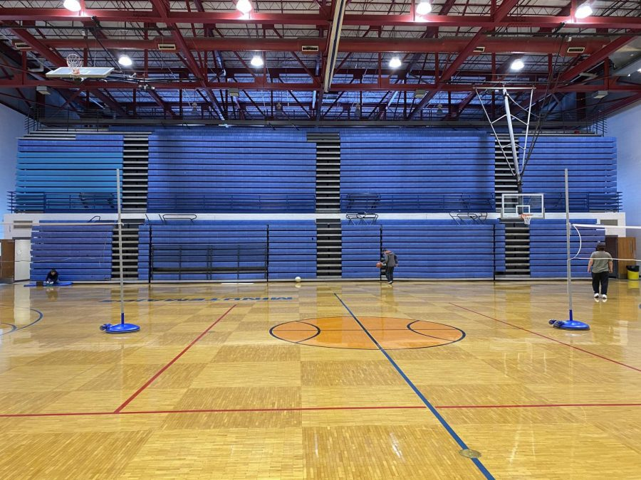 Say goodbye to our pull-out bleachers. Motorized bleachers will be installed later this month.
