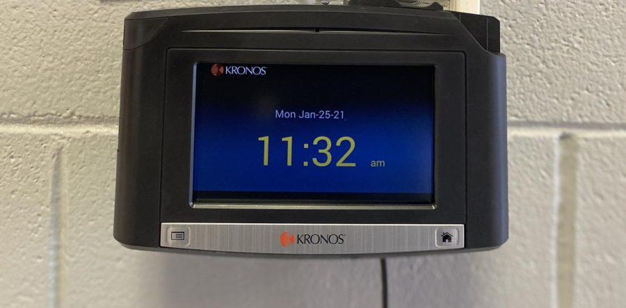 The+new+Kronos+Time+Clocks+were+installed+at+LCHS+recently.+