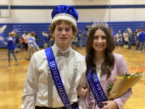 Homecoming King Vincent Snuffer and Homecoming Queen Olivia Krinov were all smiles after the coronation March 5.