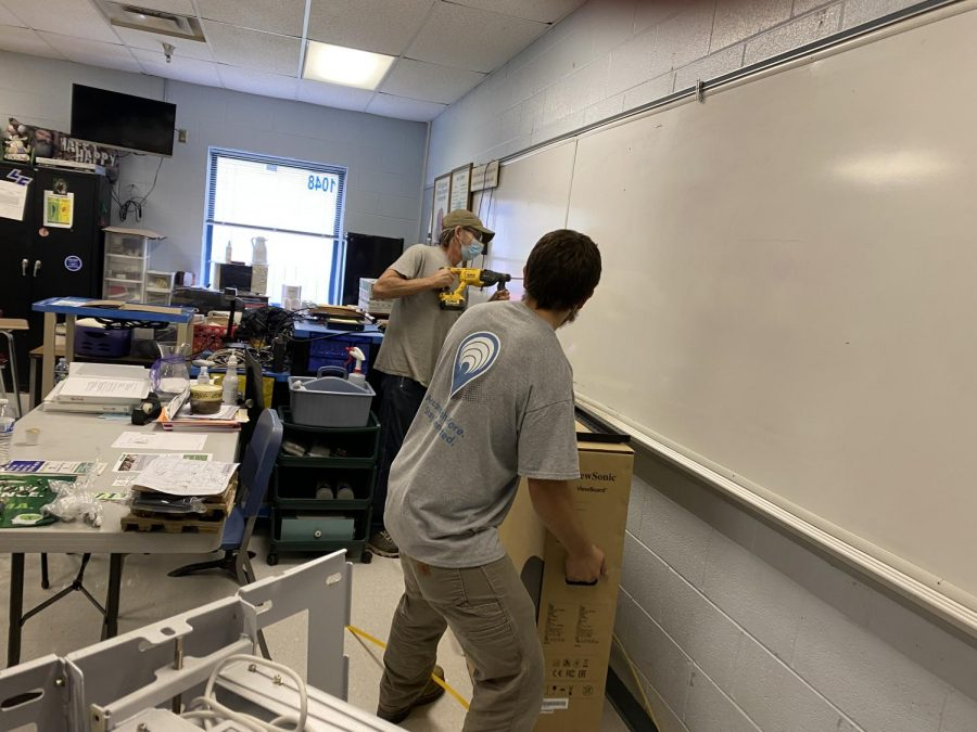Technicians installed 18 ViewBoards throughout LCHS October 7-8.