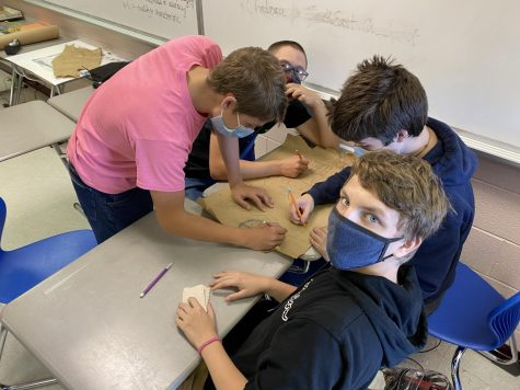 Students work on a group activity during a shortened class period.